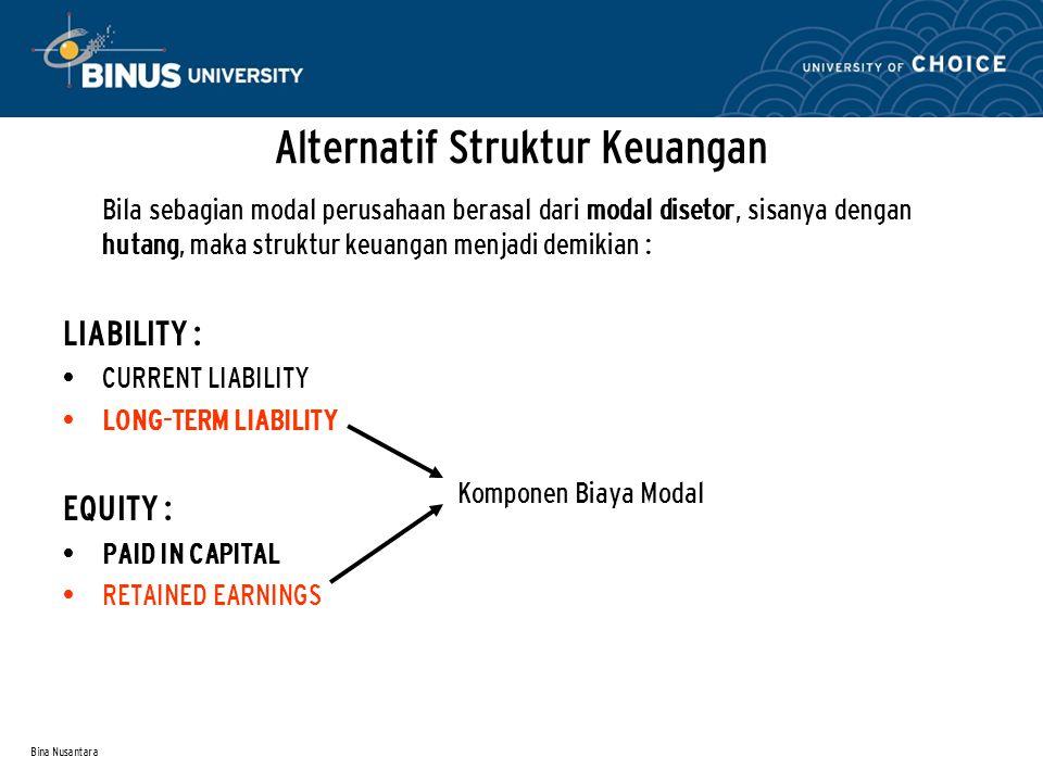 Bina Nusantara Alternatif Struktur Keuangan Bila sebagian modal perusahaan berasal dari hutang dan penerbitan saham maka struktur keuangan menjadi demikian : LIABILITY : CURRENT LIABILITY LONG-TERM LIABILITY EQUITY : COMMON STOCKS RETAINED EARNINGS Komponen Biaya Modal
