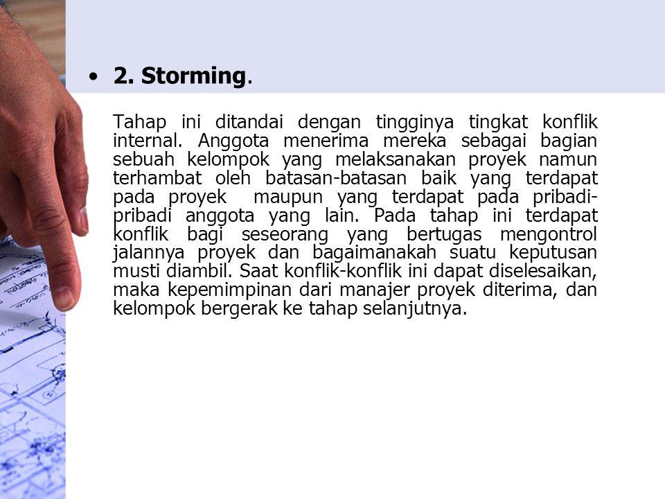 2. Storming. Tahap ini ditandai dengan tingginya tingkat konflik internal. Anggota menerima mereka sebagai bagian sebuah kelompok yang melaksanakan pr
