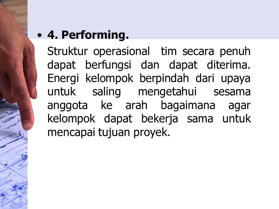 4.Performing. Struktur operasional tim secara penuh dapat berfungsi dan dapat diterima.