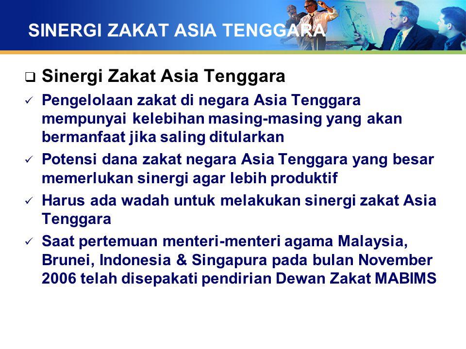 SINERGI ZAKAT ASIA TENGGARA  Sinergi Zakat Asia Tenggara Pengelolaan zakat di negara Asia Tenggara mempunyai kelebihan masing-masing yang akan berman
