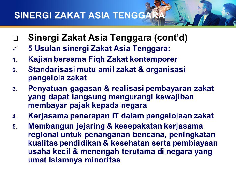 SINERGI ZAKAT ASIA TENGGARA  Sinergi Zakat Asia Tenggara (cont'd) 5 Usulan sinergi Zakat Asia Tenggara: 1. Kajian bersama Fiqh Zakat kontemporer 2. S