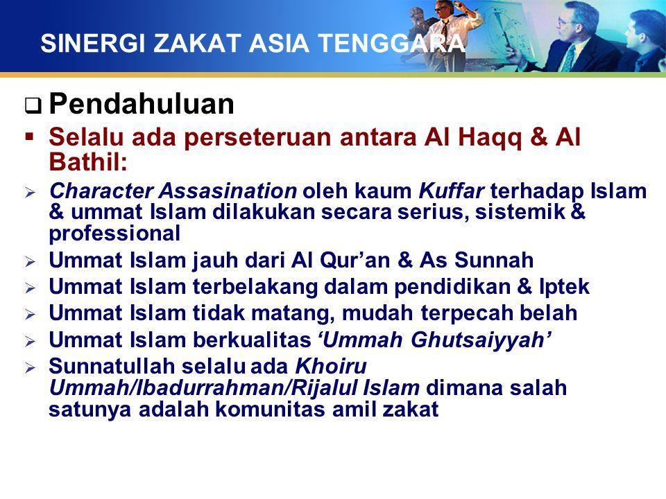 SINERGI ZAKAT ASIA TENGGARA  Pendahuluan  Selalu ada perseteruan antara Al Haqq & Al Bathil:  Character Assasination oleh kaum Kuffar terhadap Isla