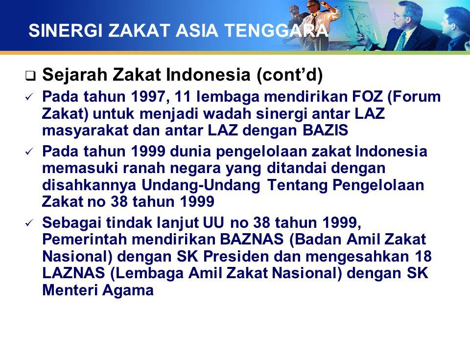 SINERGI ZAKAT ASIA TENGGARA  Sejarah Zakat Indonesia (cont'd) Pada tahun 1997, 11 lembaga mendirikan FOZ (Forum Zakat) untuk menjadi wadah sinergi an