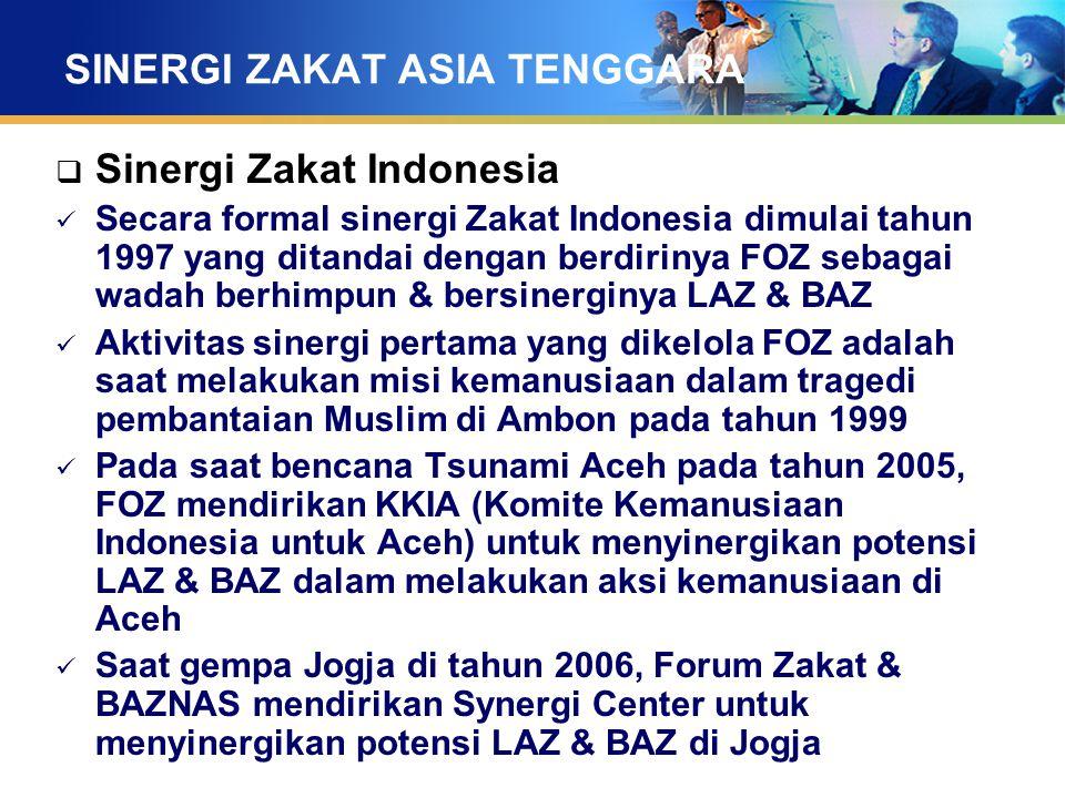 SINERGI ZAKAT ASIA TENGGARA  Sinergi Zakat Indonesia Secara formal sinergi Zakat Indonesia dimulai tahun 1997 yang ditandai dengan berdirinya FOZ seb