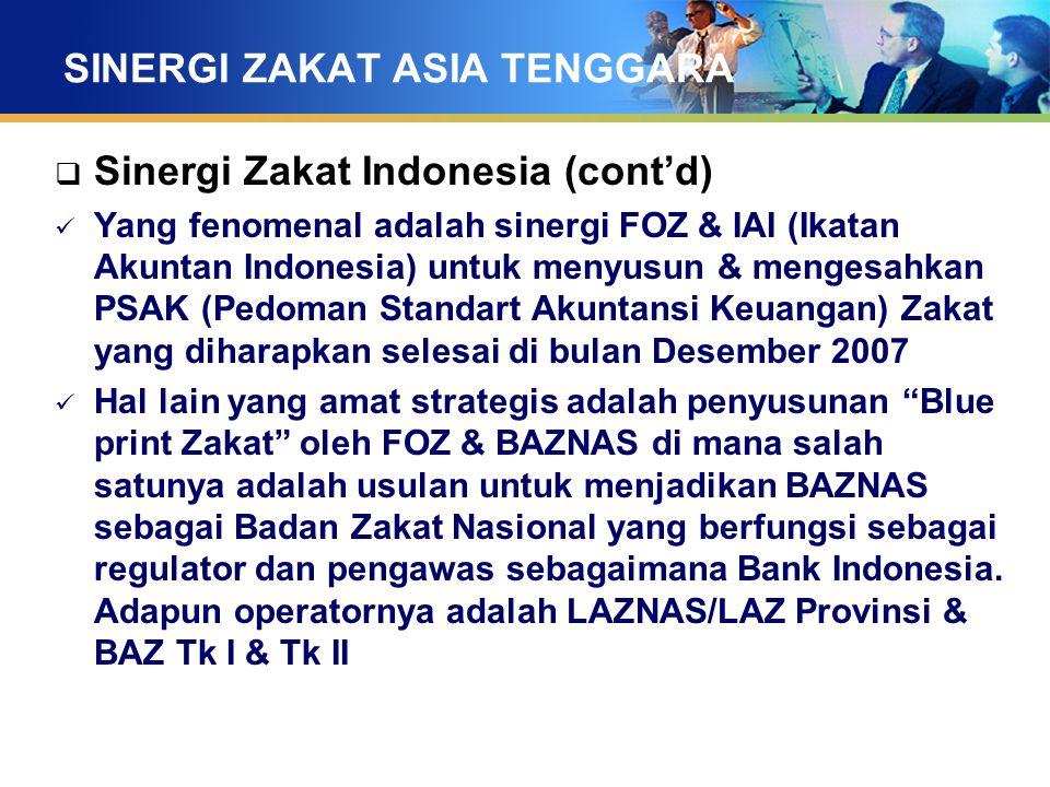 SINERGI ZAKAT ASIA TENGGARA  Sinergi Zakat Indonesia (cont'd) Yang fenomenal adalah sinergi FOZ & IAI (Ikatan Akuntan Indonesia) untuk menyusun & men