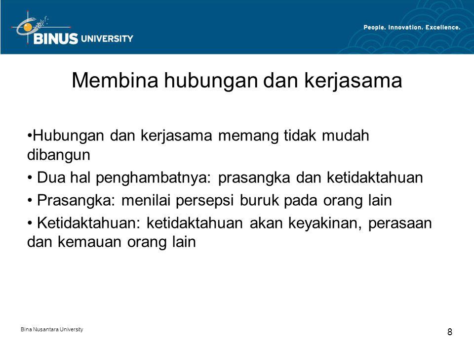 Langkah praktis untuk mengenal orang lain: @ bijaksana dan menghargai orang lain @ Gunakan sisi positif Anda dalam relasi dengan orang @ Kembangkan sikap positif untuk kerja sama @ Kembangkan rasa humor yang positif @ Bersikap baik kepada orang lain Bina Nusantara University 9
