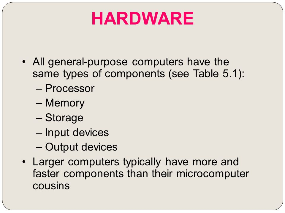 HARDWARE All general-purpose computers have the same types of components (see Table 5.1): –Processor –Memory –Storage –Input devices –Output devices L