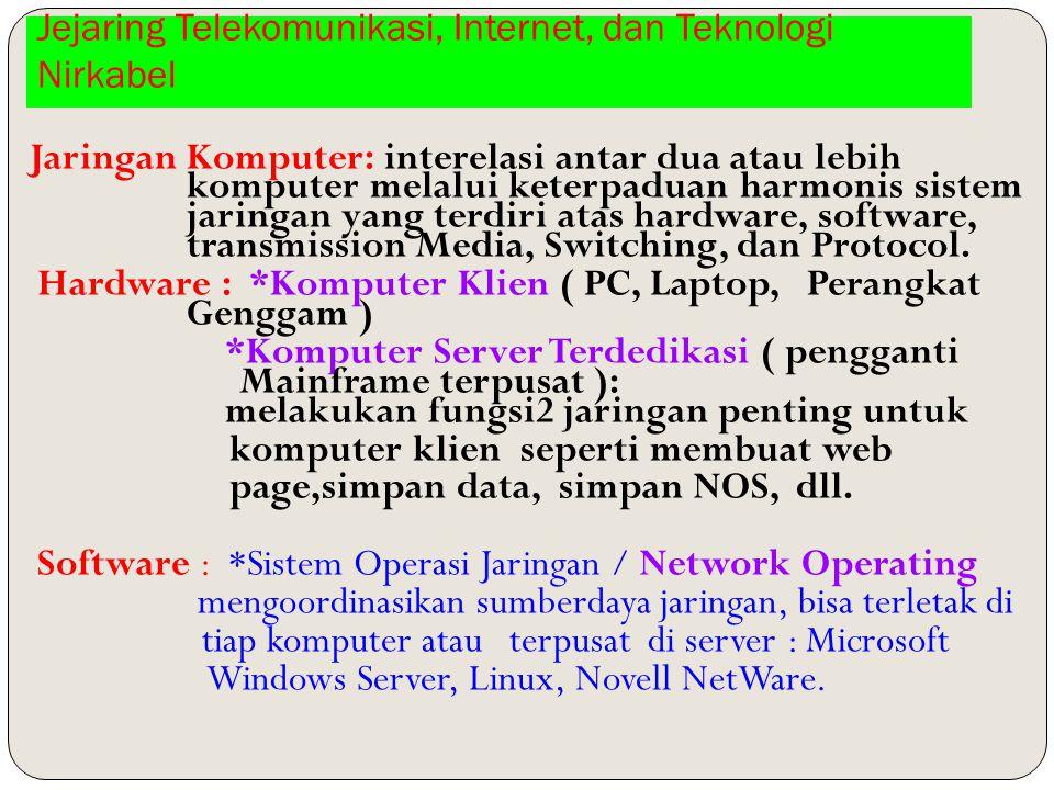 Jejaring Telekomunikasi, Internet, dan Teknologi Nirkabel Jaringan Komputer: interelasi antar dua atau lebih komputer melalui keterpaduan harmonis sistem jaringan yang terdiri atas hardware, software, transmission Media, Switching, dan Protocol.