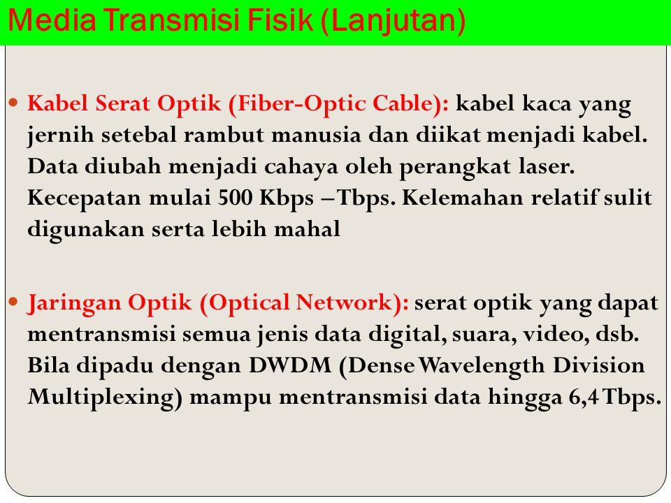 Media Transmisi Fisik (Lanjutan) Kabel Serat Optik (Fiber-Optic Cable): kabel kaca yang jernih setebal rambut manusia dan diikat menjadi kabel.
