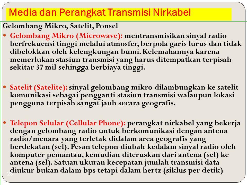 Media dan Perangkat Transmisi Nirkabel 23 Gelombang Mikro, Satelit, Ponsel Gelombang Mikro (Microwave): mentransmisikan sinyal radio berfrekuensi ting
