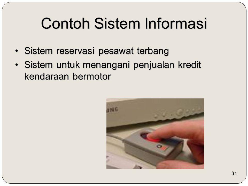 31 Contoh Sistem Informasi Sistem reservasi pesawat terbangSistem reservasi pesawat terbang Sistem untuk menangani penjualan kredit kendaraan bermotor