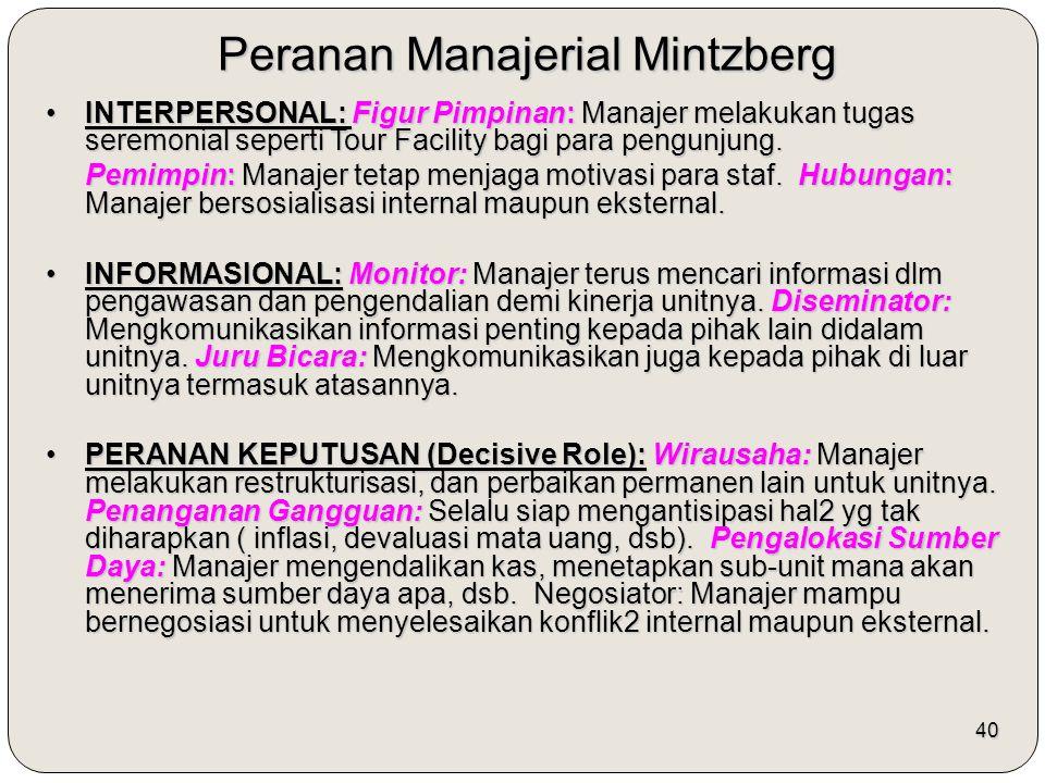 40 Peranan Manajerial Mintzberg INTERPERSONAL: Figur Pimpinan: Manajer melakukan tugas seremonial seperti Tour Facility bagi para pengunjung.INTERPERS
