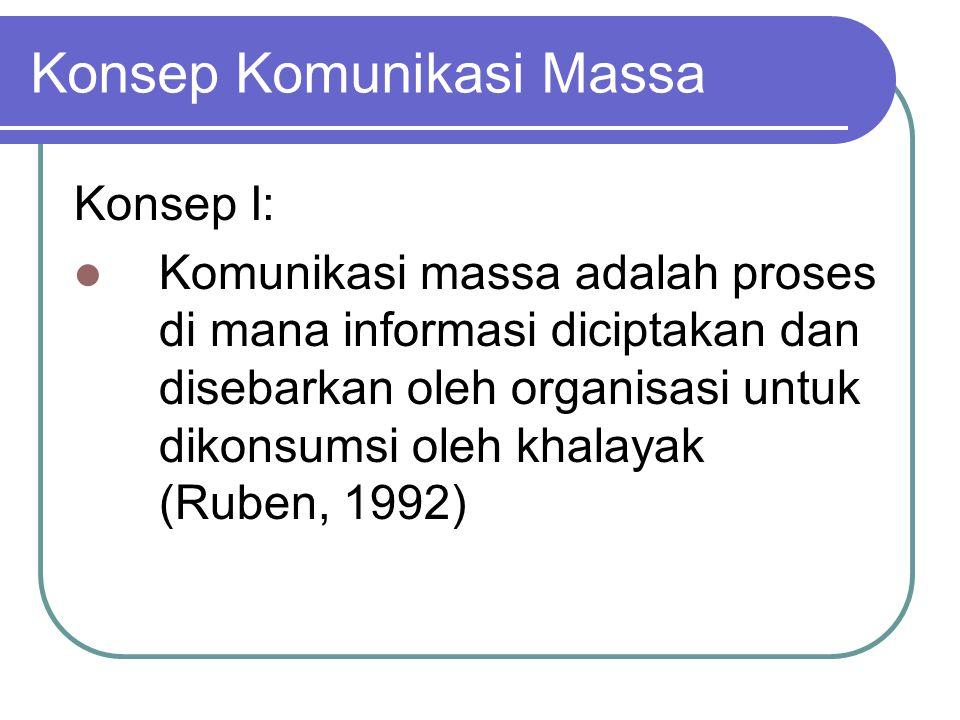 Konsep Komunikasi Massa Konsep I: Komunikasi massa adalah proses di mana informasi diciptakan dan disebarkan oleh organisasi untuk dikonsumsi oleh khalayak (Ruben, 1992)