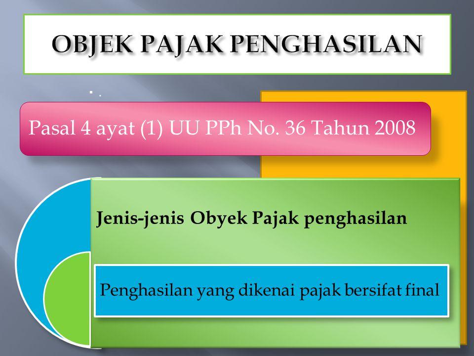 .. Jenis-jenis Obyek Pajak penghasilan Penghasilan yang dikenai pajak bersifat final Pasal 4 ayat (1) UU PPh No. 36 Tahun 2008