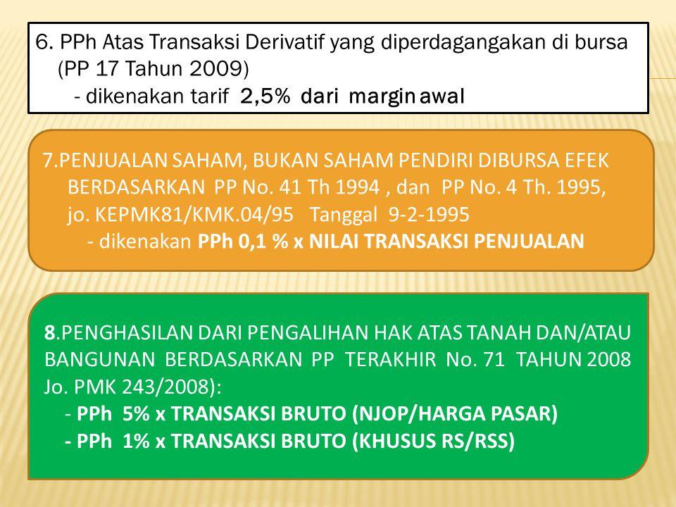 6. PPh Atas Transaksi Derivatif yang diperdagangakan di bursa (PP 17 Tahun 2009) - dikenakan tarif 2,5% dari margin awal 7.PENJUALAN SAHAM, BUKAN SAHA