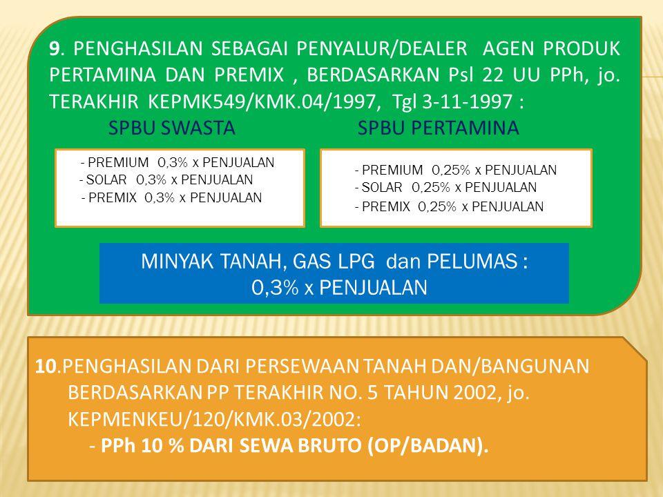 9. PENGHASILAN SEBAGAI PENYALUR/DEALER AGEN PRODUK PERTAMINA DAN PREMIX, BERDASARKAN Psl 22 UU PPh, jo. TERAKHIR KEPMK549/KMK.04/1997, Tgl 3-11-1997 :