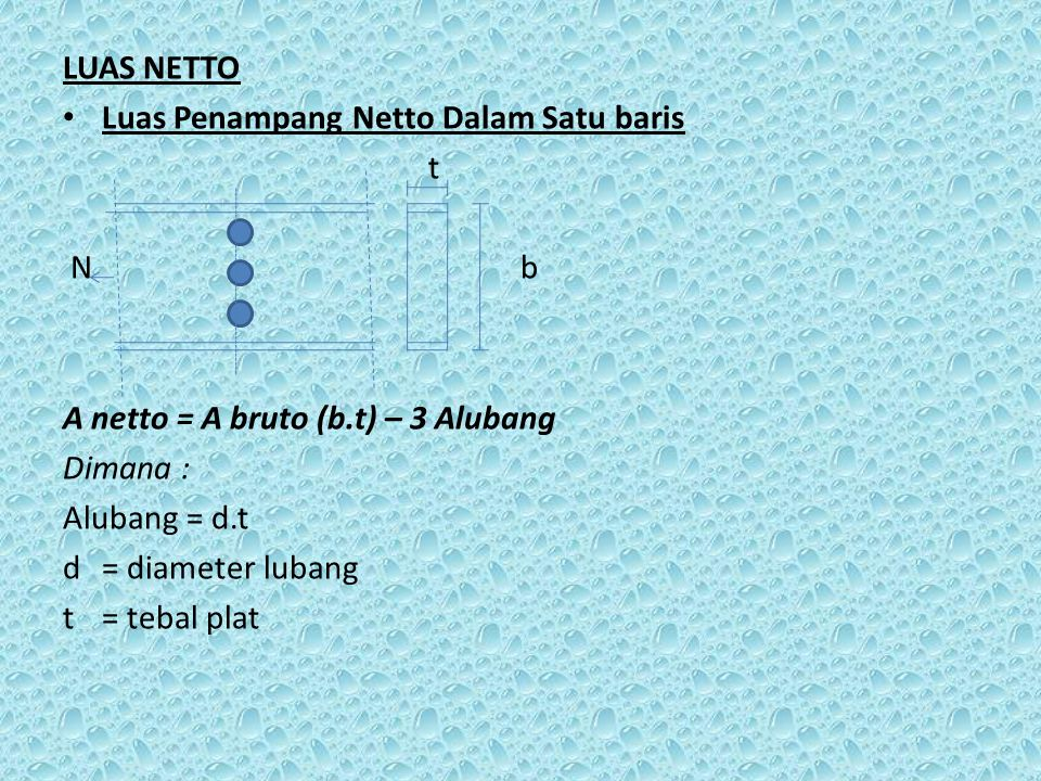 LUAS NETTO Luas Penampang Netto Dalam Satu baris t N b A netto = A bruto (b.t) – 3 Alubang Dimana : Alubang = d.t d= diameter lubang t = tebal plat