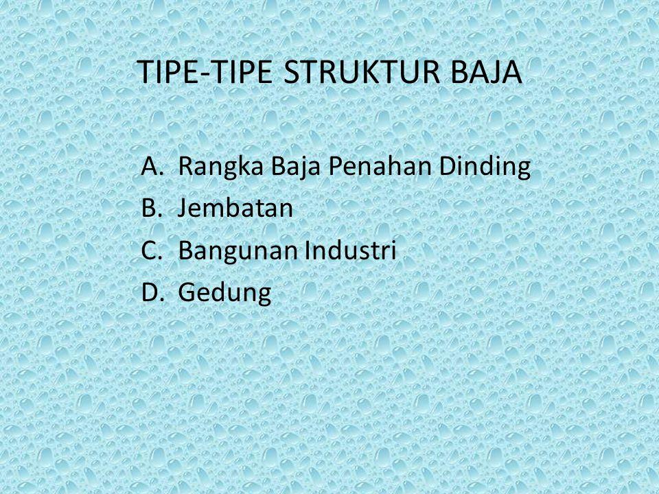 TIPE-TIPE STRUKTUR BAJA A.Rangka Baja Penahan Dinding B.Jembatan C.Bangunan Industri D.Gedung