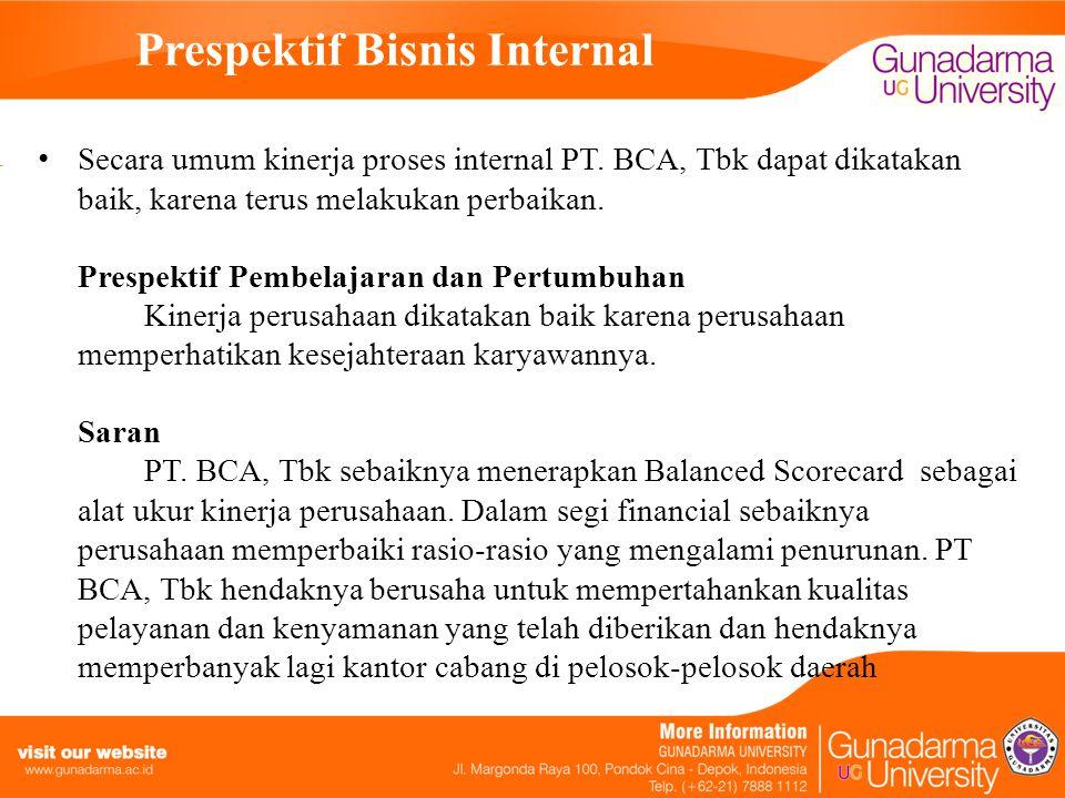 Prespektif Bisnis Internal Secara umum kinerja proses internal PT.