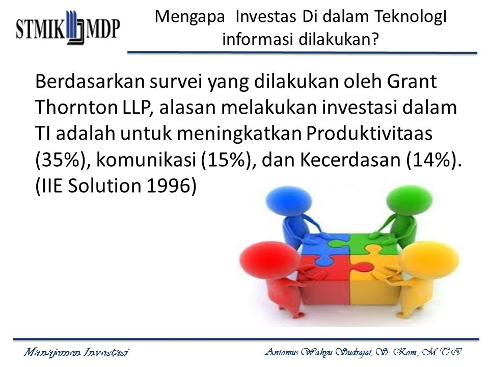 Manajemen Investasi Antonius Wahyu Sudrajat, S. Kom., M.T.I Mengapa Investas Di dalam TeknologI informasi dilakukan? Berdasarkan survei yang dilakukan