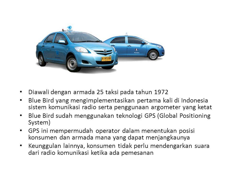 Diawali dengan armada 25 taksi pada tahun 1972 Blue Bird yang mengimplementasikan pertama kali di Indonesia sistem komunikasi radio serta penggunaan a