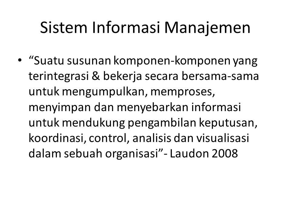 """Sistem Informasi Manajemen """"Suatu susunan komponen-komponen yang terintegrasi & bekerja secara bersama-sama untuk mengumpulkan, memproses, menyimpan d"""