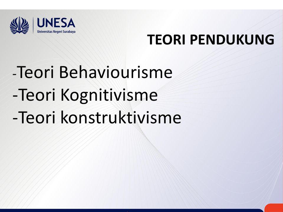 TEORI PENDUKUNG - Teori Behaviourisme -Teori Kognitivisme -Teori konstruktivisme