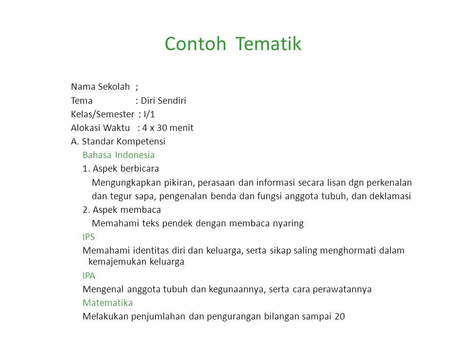 Contoh Tematik Nama Sekolah ; Tema : Diri Sendiri Kelas/Semester : I/1 Alokasi Waktu : 4 x 30 menit A. Standar Kompetensi Bahasa Indonesia 1. Aspek be