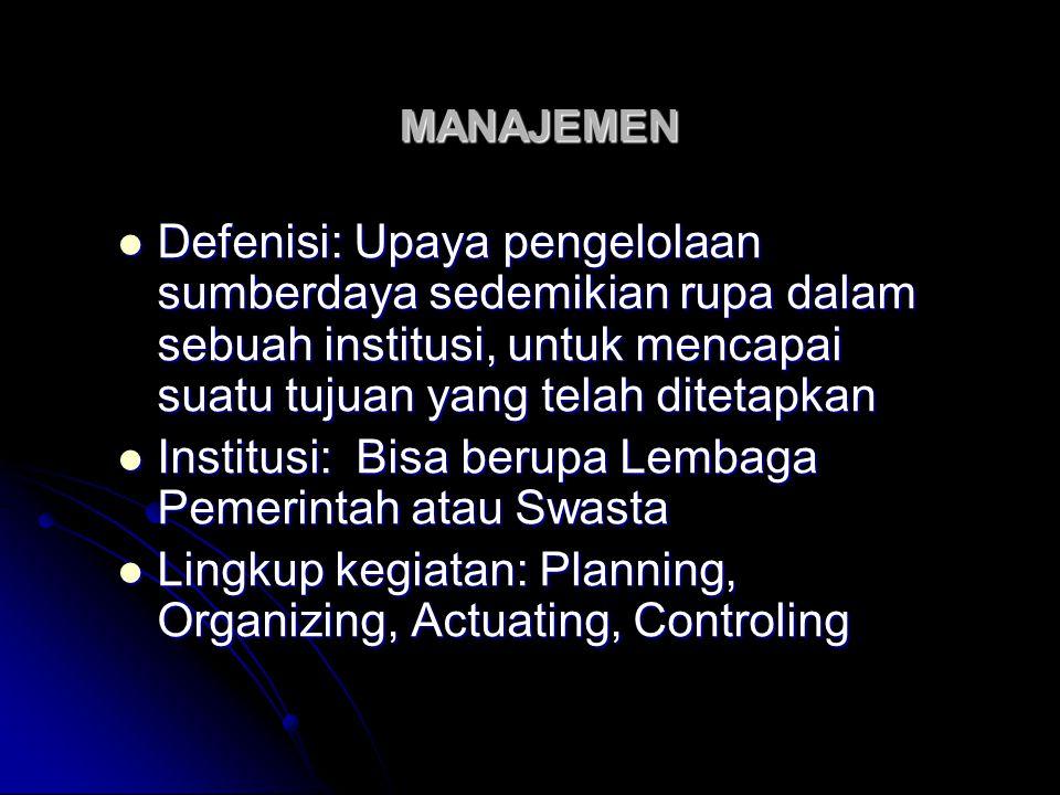 MANAJEMEN Defenisi: Upaya pengelolaan sumberdaya sedemikian rupa dalam sebuah institusi, untuk mencapai suatu tujuan yang telah ditetapkan Defenisi: U