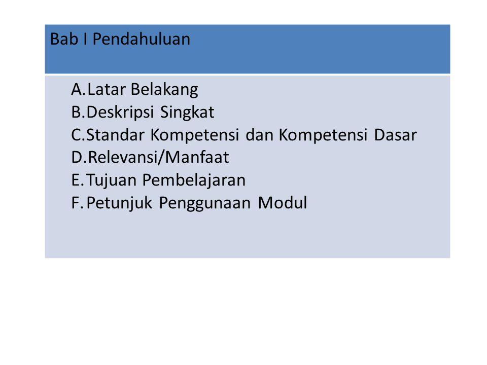Bab I Pendahuluan A.Latar Belakang B.Deskripsi Singkat C.Standar Kompetensi dan Kompetensi Dasar D.Relevansi/Manfaat E.Tujuan Pembelajaran F.Petunjuk Penggunaan Modul