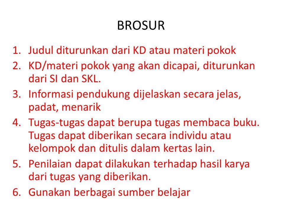 BROSUR 1.Judul diturunkan dari KD atau materi pokok 2.KD/materi pokok yang akan dicapai, diturunkan dari SI dan SKL.