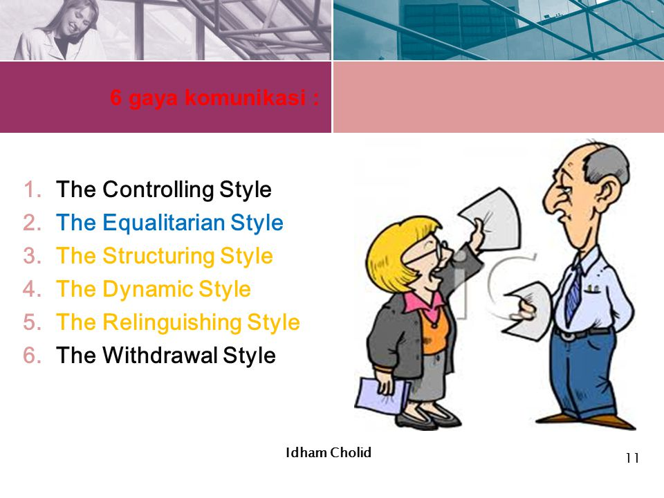 6 gaya komunikasi : 1.The Controlling Style 2.The Equalitarian Style 3.The Structuring Style 4.The Dynamic Style 5.The Relinguishing Style 6.The Withd