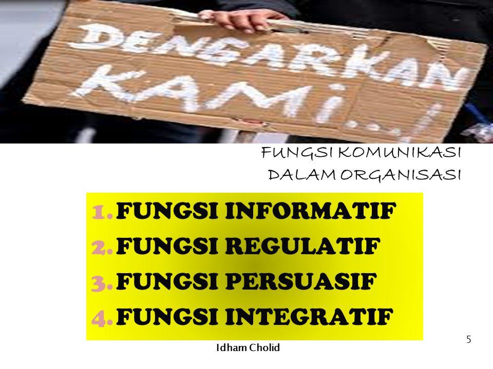 FUNGSI KOMUNIKASI DALAM ORGANISASI 1.FUNGSI INFORMATIF 2.FUNGSI REGULATIF 3.FUNGSI PERSUASIF 4.FUNGSI INTEGRATIF Idham Cholid 5