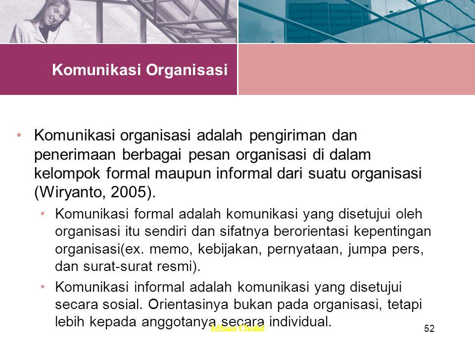 Komunikasi Organisasi Komunikasi organisasi adalah pengiriman dan penerimaan berbagai pesan organisasi di dalam kelompok formal maupun informal dari s