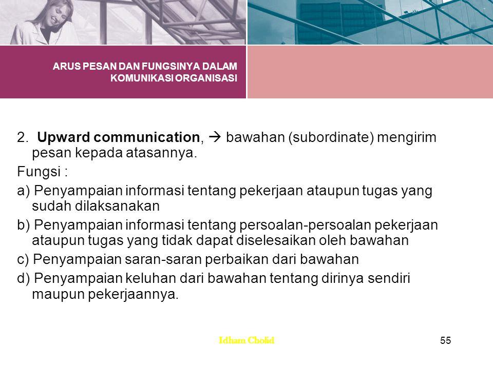 ARUS PESAN DAN FUNGSINYA DALAM KOMUNIKASI ORGANISASI 2. Upward communication,  bawahan (subordinate) mengirim pesan kepada atasannya. Fungsi : a) Pen
