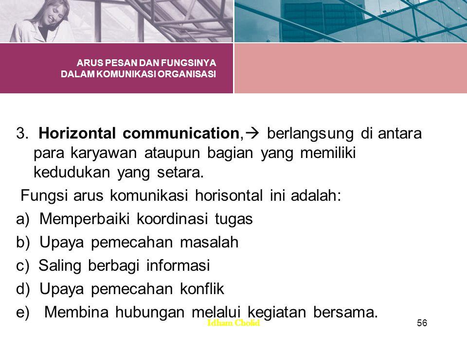 ARUS PESAN DAN FUNGSINYA DALAM KOMUNIKASI ORGANISASI 3. Horizontal communication,  berlangsung di antara para karyawan ataupun bagian yang memiliki k