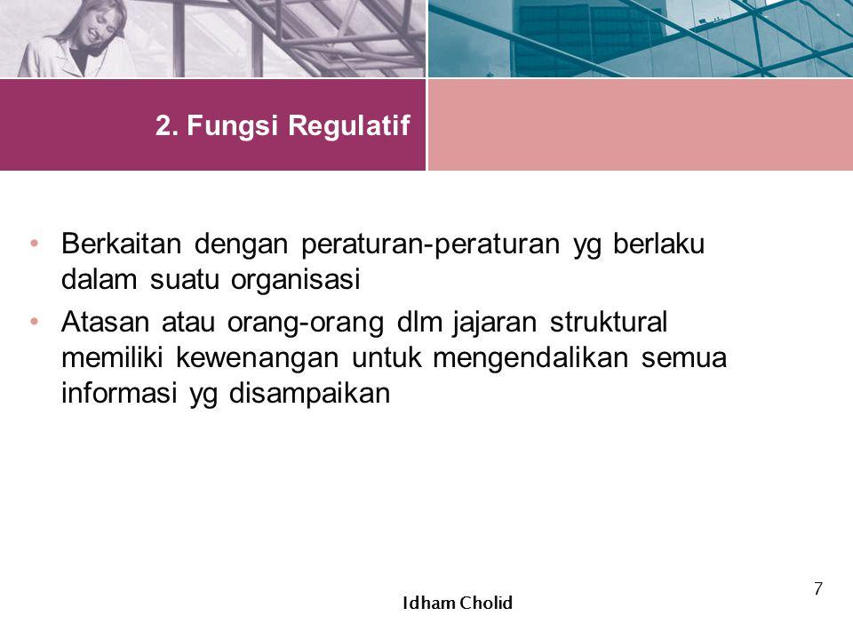 2. Fungsi Regulatif Berkaitan dengan peraturan-peraturan yg berlaku dalam suatu organisasi Atasan atau orang-orang dlm jajaran struktural memiliki kew