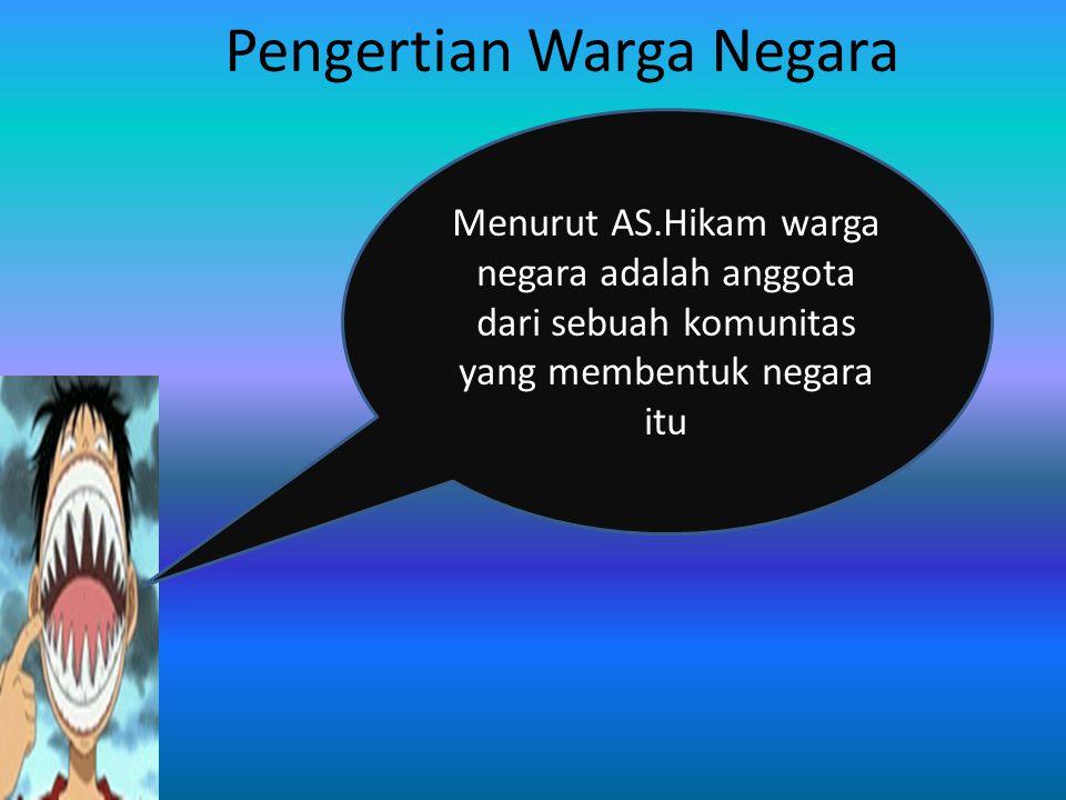 Rakyat Penduduk Bukan penduduk Warga Negara Bukan Warga Negara