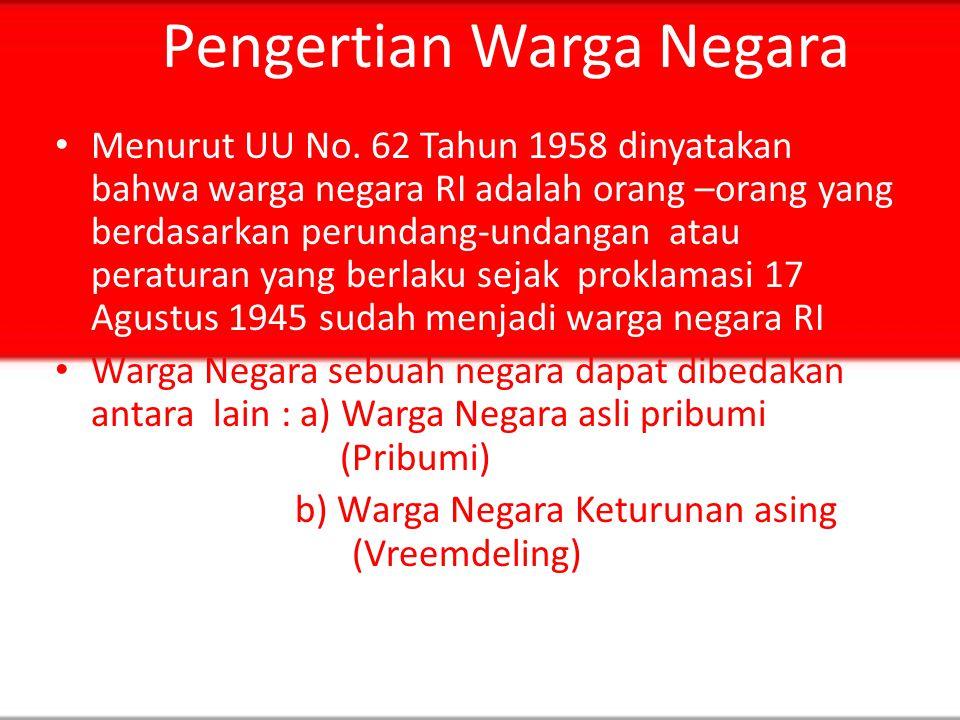 Pengertian Warga Negara Menurut Koerniatmanto S, mendefinisikan warga negara dengan anggota negara.Sebagai anggota negara seorang warga negara mempuny
