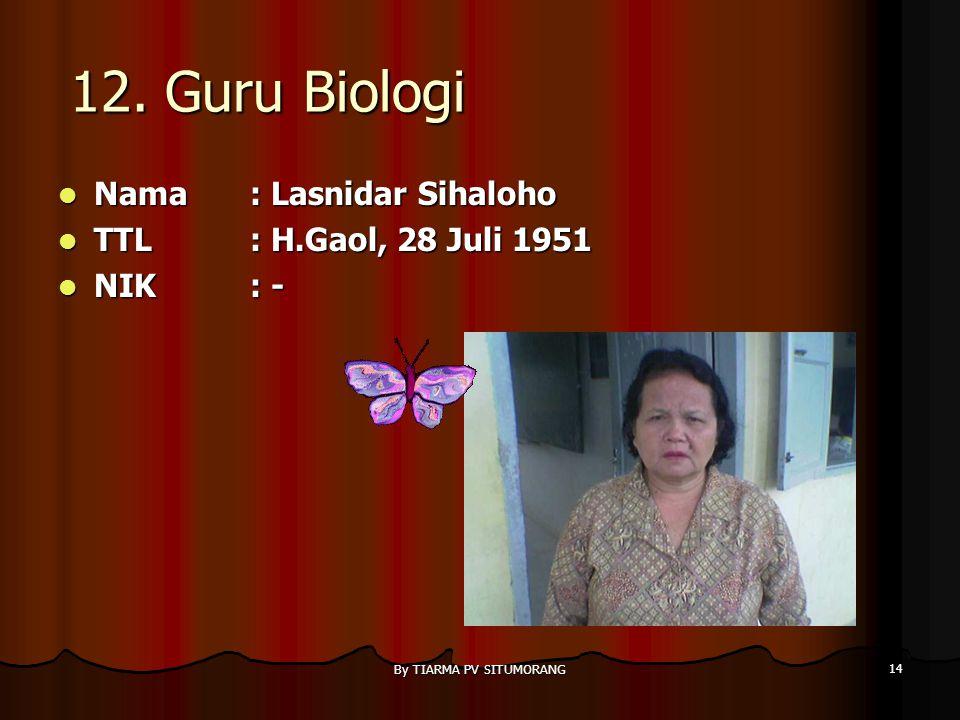 By TIARMA PV SITUMORANG 13 11. Guru B. Inggris Nama : Martua Nainggolan, S.Pd Nama : Martua Nainggolan, S.Pd TTL: 12 Mei 1980 TTL: 12 Mei 1980 NIK: -