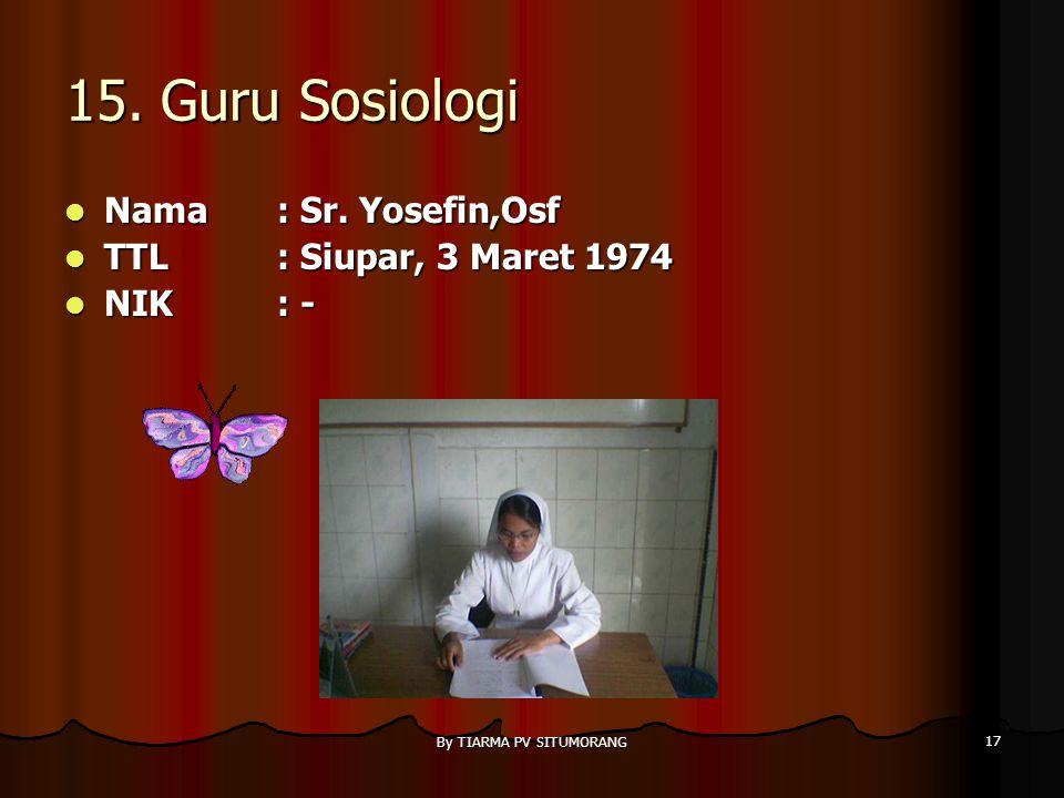 By TIARMA PV SITUMORANG 16 14. Guru Penjas Nama : Sadar Sitanggang,S.Pd Nama : Sadar Sitanggang,S.Pd TTL: Sibuluan, 16 Mei 1979 TTL: Sibuluan, 16 Mei
