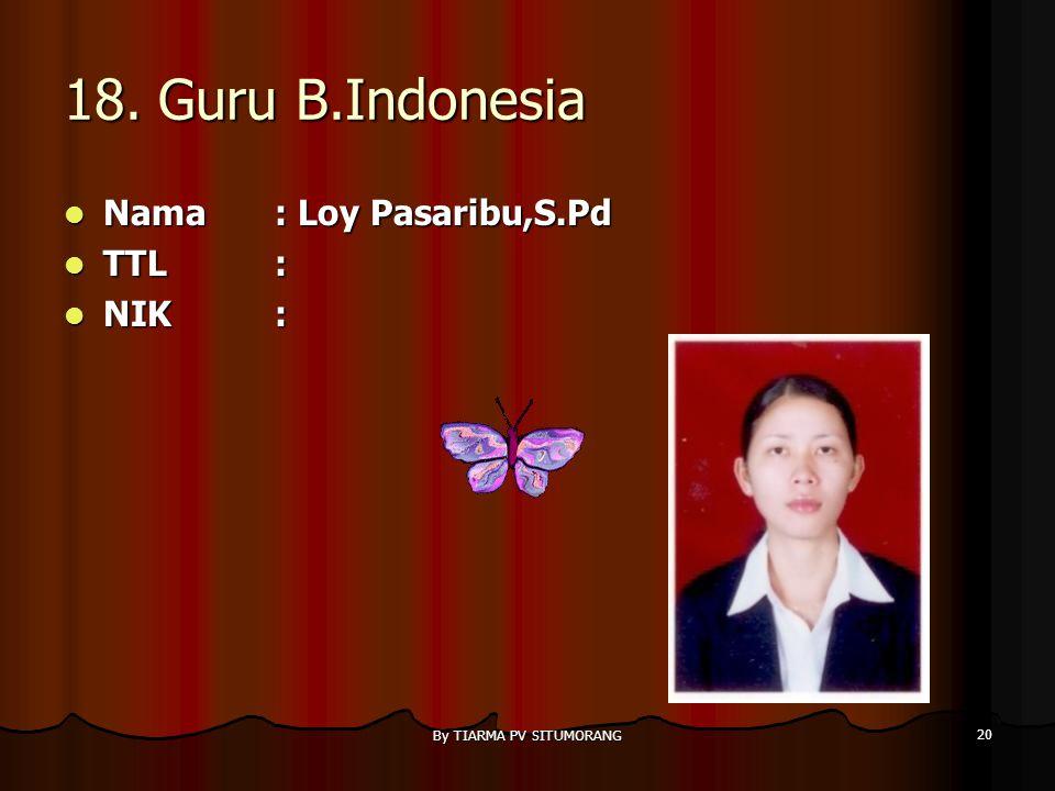 By TIARMA PV SITUMORANG 19 17. Guru B.Indonesia Nama : Nova Lubis Nama : Nova Lubis TTL: TTL: NIK: NIK: