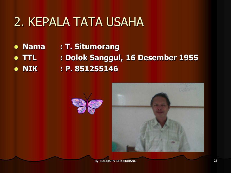 By TIARMA PV SITUMORANG 27 1. TATA USAHA Nama: M.K. LUMBAN TOBING TTL: Sibolga, 12 Nopember 1974 NIK: P. 991174342
