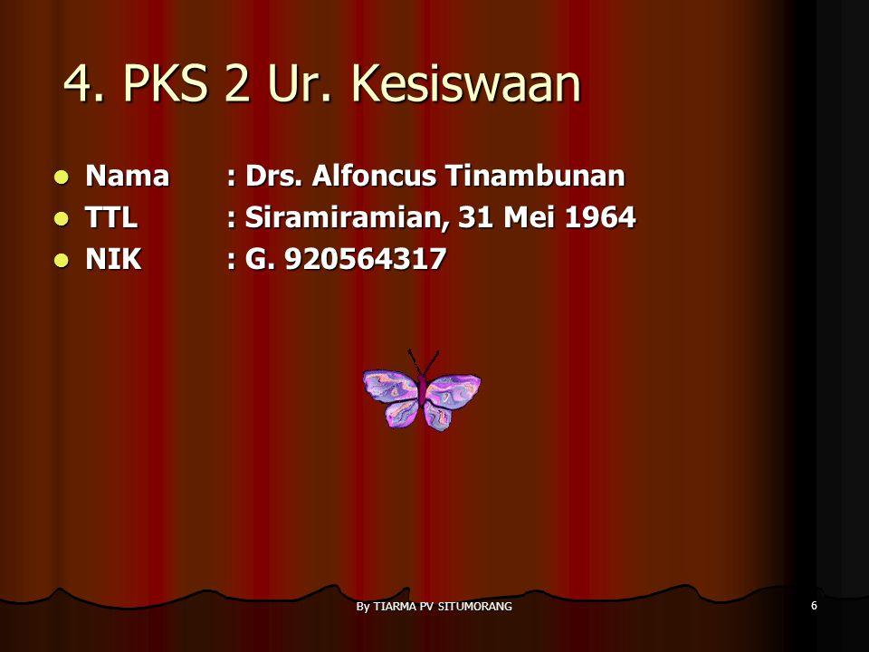 By TIARMA PV SITUMORANG 6 4.PKS 2 Ur. Kesiswaan Nama : Drs.