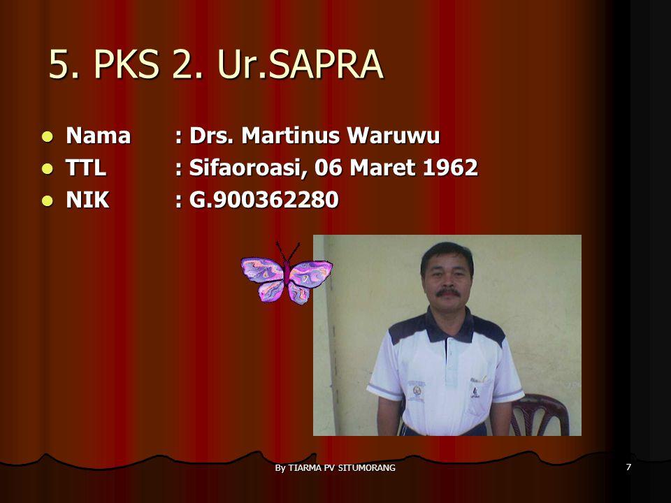 By TIARMA PV SITUMORANG 6 4. PKS 2 Ur. Kesiswaan Nama : Drs. Alfoncus Tinambunan Nama : Drs. Alfoncus Tinambunan TTL: Siramiramian, 31 Mei 1964 TTL: S