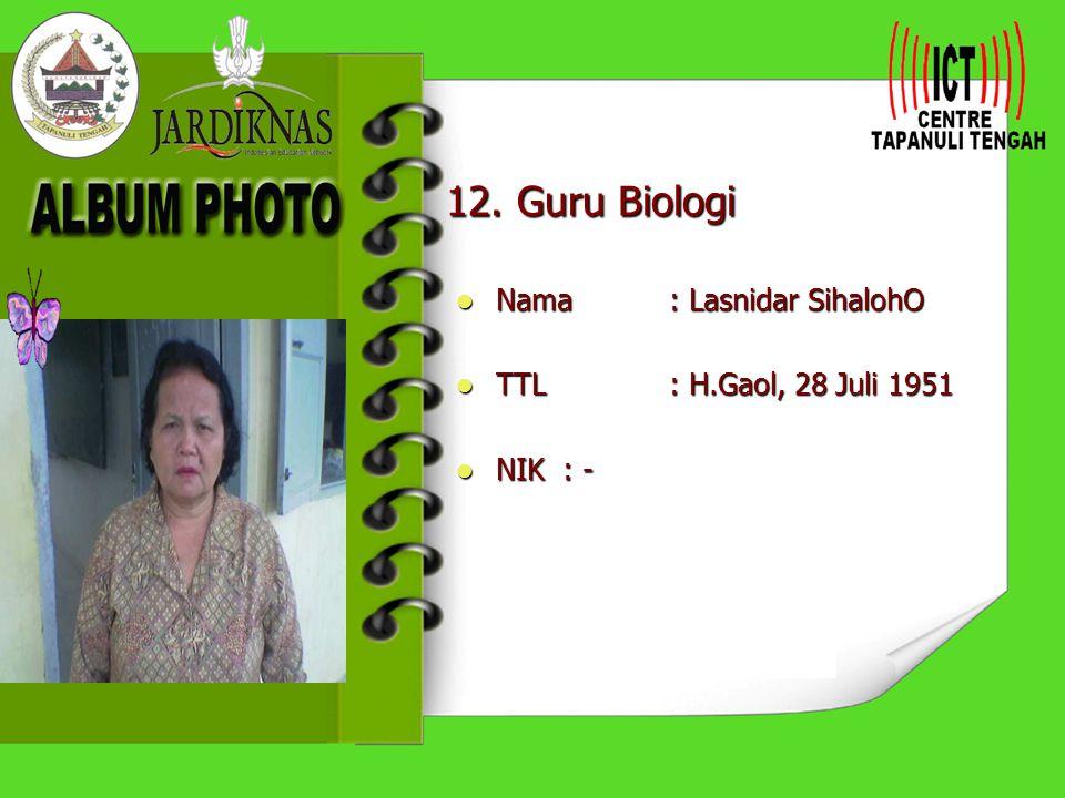 11. Guru B. Inggris Nama : Martua Nainggolan,S.Pd Nama : Martua Nainggolan,S.Pd TTL: 12 Mei 1980 TTL: 12 Mei 1980 NIK: - NIK: -