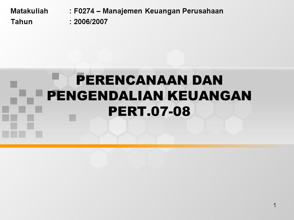 1 PERENCANAAN DAN PENGENDALIAN KEUANGAN PERT.07-08 Matakuliah: F0274 – Manajemen Keuangan Perusahaan Tahun: 2006/2007
