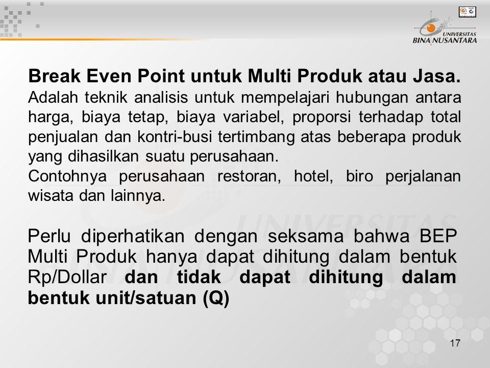 17 Break Even Point untuk Multi Produk atau Jasa.