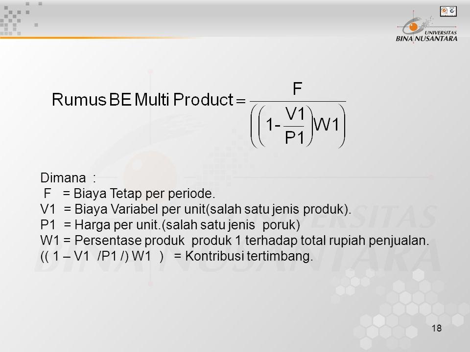 18 Dimana : F = Biaya Tetap per periode.V1 = Biaya Variabel per unit(salah satu jenis produk).