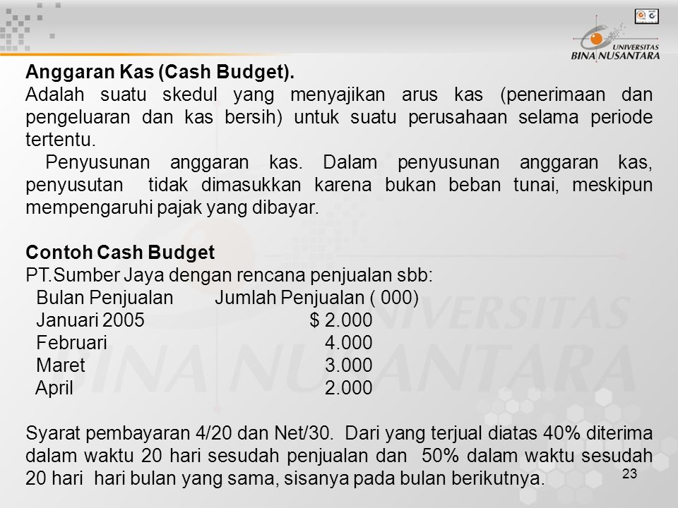 23 Anggaran Kas (Cash Budget).